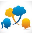 Two women communicate message bubble vector