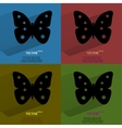Color set butterfly flat modern web button with vector