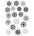 Ship wheel in retro style icon set vector