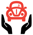 Hands holding red retro car icon vector