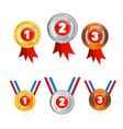 Medals sets - gold silver bronze first second vector
