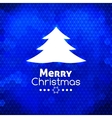 Merry christmas tree card abstract blue background vector