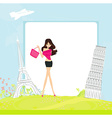 Beauty travel girl - abstract frame vector
