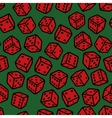 Red gambling dices seamless pattern on green vector