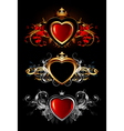 Heart forms with ornate elements vector
