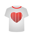 T shirt template- heart bar code vector