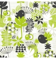 Seamless pattern with green grass and dark birds vector