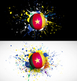 Cameroon flag with soccer ball dash on colorful vector