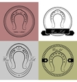 Horseshoe logos in different styles with the vector