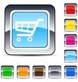 Shopping cart square button vector