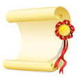 An empty sheet of paper with a ribbon vector