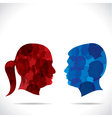 Blue men and red women vector