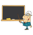 Senior male school teacher pointing chalk board vector