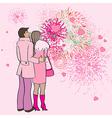Valentine s day fireworks vector