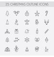 Christmas outline icons holiday new year icons vector