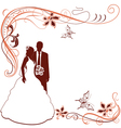 Invitation with wedding pair vector