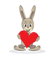 Cartoon funny rabbit holds big red heart vector
