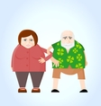 Old couple holding hands vector