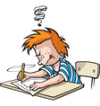 School boy writing vector
