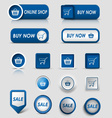 Collection web blue buttons and pointers for vector