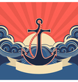Nautical label with anchor and blue sea waves vector