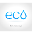 Blue word eco on gray background vector