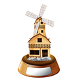 A trophy stand with a wooden house vector