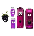 Cartoon happy blackberry juice characters vector