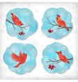Winter christmas sticker birds rowan tree branches vector