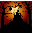 Castle cemetery and raven vector