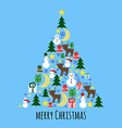 Fir tree from christmas stuff greeting card vector