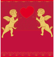 Happy valentines day card with cupid vector