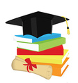 Book stack graduation cap and diploma vector
