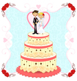 Romantic wedding cake vector