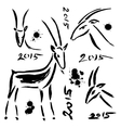 Goat 2015 set new year symbol vector