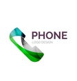 Retro phone logo design made of color pieces vector