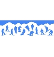 Silhouettes snowboarders vector