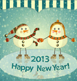 Christmas card - two snowmen on ice vector