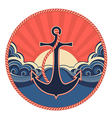 Nautical label with anchor and sea waves vector