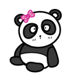 Cute sitting panda with bow vector