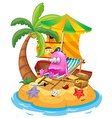 A pink pirate monster in the island vector