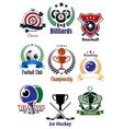 Colored sports tournaments emblems set vector
