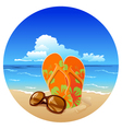Pair of flip flops and sunglasses on the beach vector
