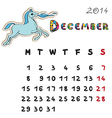 Color horse calendar 2014 december vector