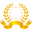 Laurel wreath with ribbon and stars vector
