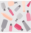 Seamless pattern with cosmetics bottles vector