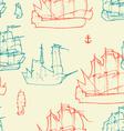 Vintage ships pattern vector