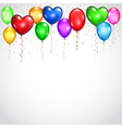 Background with colored balloons and serpentines vector