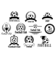 Football or soccer black and white emblems vector