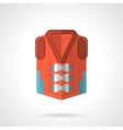 Red rescue jacket flat icon vector